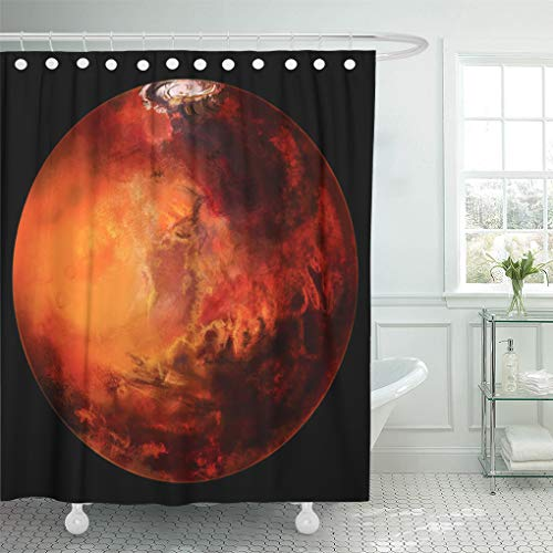 Semtomn Shower Curtain Waterproof Polyester Fabric 66 x 72 inches Red Mars Planet Beyond Our Solar System Black Computer with Set with Hooks Decorative Bathroom Curtains ()
