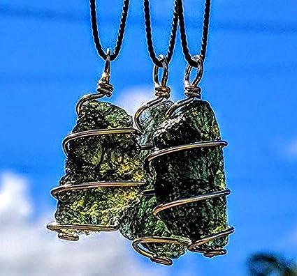 Moldavite Crystal Pendant or Amulet set in silver on adjustable cord Genuine crystal!