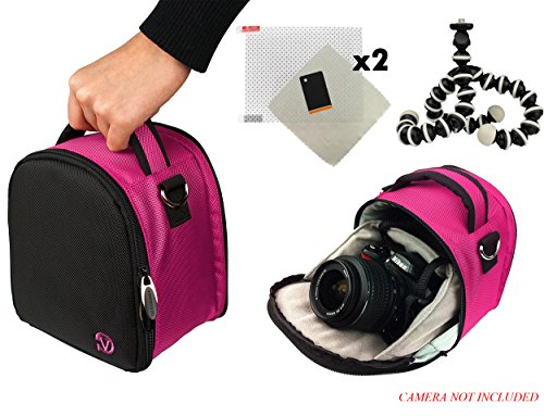 Laurel Travel Camera Bag Case For Canon EOS 1000D (Rebel XS/Kiss F), 100D (Rebel SL1), 10D, 1100D (Rebel T3/Kiss X50) DSLR Camera + Screen Protector + Screen Protector + Mini (1000d Kiss)