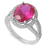 Oval Center Simulated Ruby Cubic Zirconia Floating Ring Sterling Silver Size 10