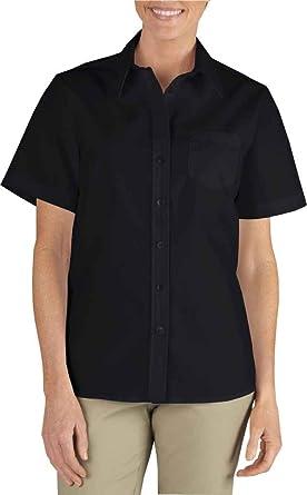 186d3c8b10f Dickies Women s Short Sleeve Stretch Poplin Shirt at Amazon Women s Clothing  store