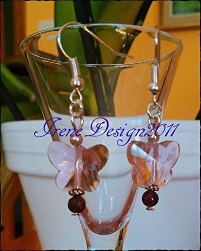 Light Pink Butterfly & Watermelon Tourmaline Earrings by IreneDesign2011 ()
