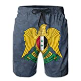 Qinf New Cartoon Fashion Coat Of Arms Of Syria Men's Beach Pants Casual Shorts For Man