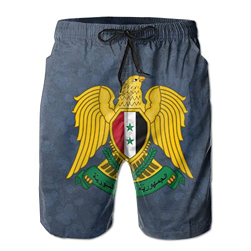 Qinf New Cartoon Fashion Coat Of Arms Of Syria Men's Beach Pants Casual Shorts For Man by Qinf (Image #1)