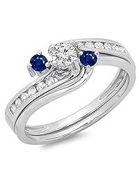 14K Gold Round Blue Sapphire & White Diamond Bridal Swirl Engagement Ring Set