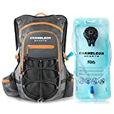 Chameleon Hydration Backpack Pack - Perfect Camel Bag for Running, Cycling and Hiking - 2L Water Bladder Included