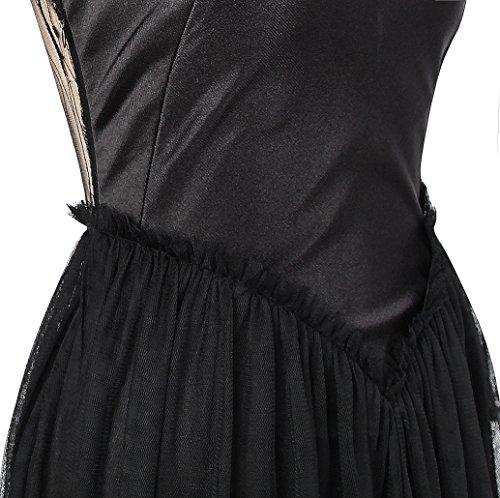 Eine Damen Transparentes Paillette Schwarz Schulter fashions Blattwerk Kleid Angel Dunkles Y5axq1EP