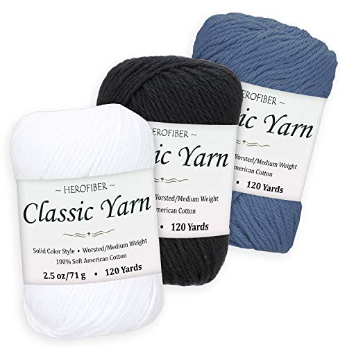 Cotton Yarn Assortment | Snow White + Black + Simply Blue | 2.5oz / Ball - 3 Solid Colors - Worsted/Medium Weight - for Knitting, Crochet, Needlework, Decor, Arts & Crafts Projects