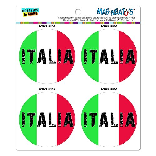 Italia Italy Italian Flag MAG-NEATO'S(TM) Automotive Car Refrigerator Locker Vinyl Magnet Set