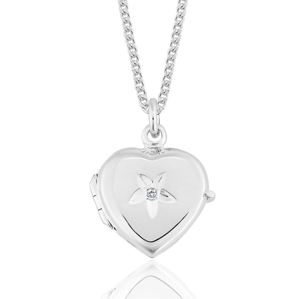 DTPsilver - Collier avec Médaillon Pendentif Porte Photo Femme en Argent Fin 925 avec Diamant 0.01 ct. en Forme de Cœur ppldia11ch