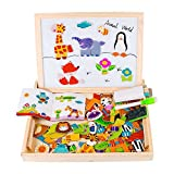 Magnetic Jigsaw Puzzle Toddler Toys, DIWENHOUSE Multifunctional Wooden Drawing Easel Double Sided with Dry Erase Board & Chalkboard Perfect Educational Toy for Kids (Forest)