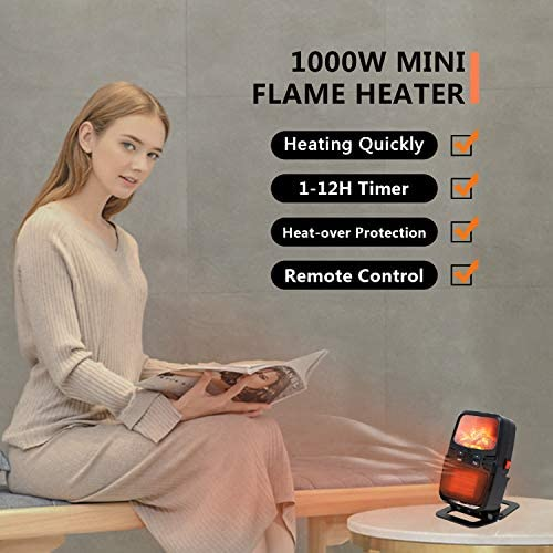 ZEHNHASE Mini Electric Heater, 1000W Fast Personal Desktop Heater with Flame Effect, Fan Heater with Remote Control Timing Shutdown Equipped With Over-Heat And Tilt Protection