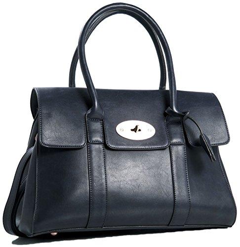 Big Handbag Shop Womens Vegan Leather Designer Boutique Top Handle Tote Shoulder Bag - Large Navy