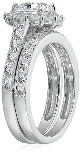 Platinum-Plated Sterling Silver Flower Halo Ring set with Swarovski Zirconia (2.9 cttw), Size 7 by Amazon Collection (Image #2)
