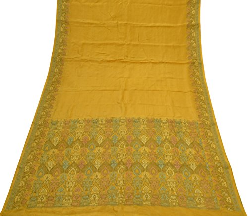 Vintage Indian Saree 100% Pure Silk Woven Pallu Border Sari Fabric Mustard