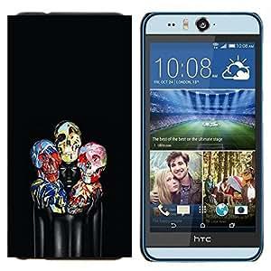 TECHCASE---Cubierta de la caja de protección para la piel dura ** HTC Desire Eye ( M910x ) ** --Paint Cráneo floral Negro profundo Mujer