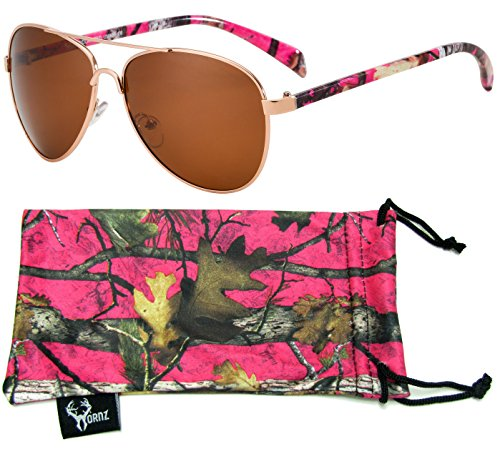 Hornz Hot Pink Camouflage Polarized Aviator Sunglasses for Women & Free Matching Microfiber Pouch - Medium Size - Hot Pink Camo Frame - Amber ()