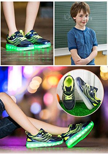 COIN Unisex Kuli Skateboard Schuhe mit LED, Kinder USB Auflade Lichter Blinken Schuhe für Jungen und Mädchen, Blau/Rosa/Schwarz, 25-30 Schwarz