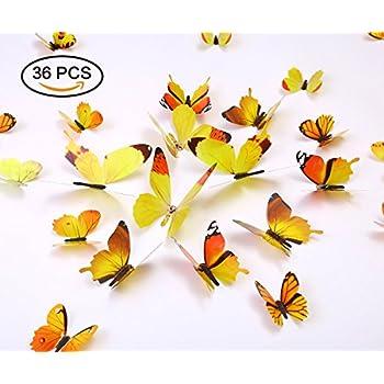 Amazon.com : Kakuu 36PCS Butterfly Wall Decals - 3D Butterflies wall ...