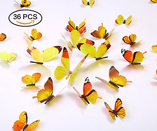 Kakuu 36PCS Butterfly Wall Decals - 3D Butterflies wall stickers Removable Mural decor Wall Stickers Decals Wall Decor Home Decor Kids Room Bedroom Decor Living Room Decor -Yellow (And Blue Room Living Decor Yellow)