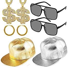8 Pieces 90s Run Dmc Costume 80s Rapper Costumes Set for Men,Hip Hop Hat Gold Party Chains,Bracelet and DJ Sunglasses