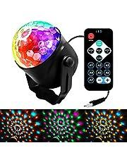 Disco-licht, draaibaar, 3 W, magisch ledlicht, draaibaar, voor feestjes, draagbaar, afstandsbediening en 7 RGB-kleuren, ideaal voor verjaardag, disco, party, bar, Kerstmis, bruiloft