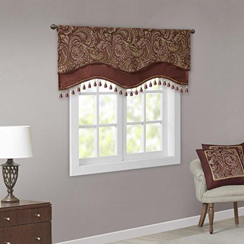 Madison Park Aubrey Jacquard Window Rod Pocket Valance with Beads, 50x18, Burgundy - Jacquard Window Treatments