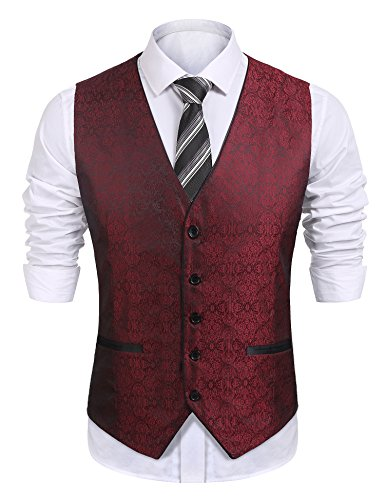 COOFANDY COOFANDYS Mens Paisley Embroidery Dress Tuxedo Vest Wedding Formal Waistcoat,Red,Medium (Red Dress Suit)