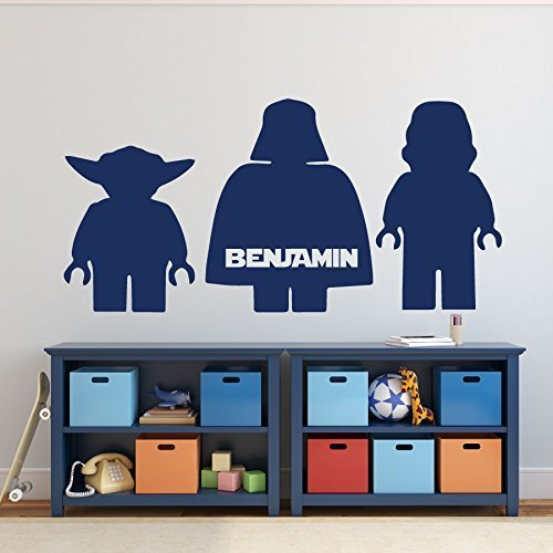 Lego Star Wars Wall Decals With Yoda, Darth Vader, And Storm Trooper    Personalized