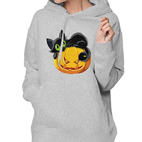 (Halloween Cat Women's Casual Pullover Hoodie with Pockets)