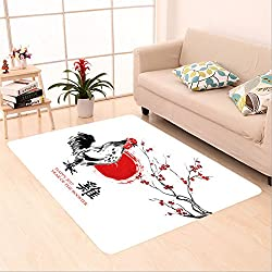 Sophiehome skid Slip rubber back antibacterial  Area Rug greeting card chinese new year a rooster crowing a sun disk and a branch of cherry blossom 498603481 Home Decorative