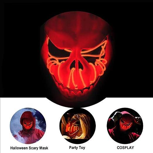 Hengweiuk - Máscara de Halloween LED, máscara de Purga de Calavera ...