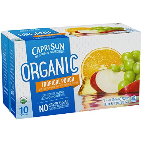 Capri Sun Organic Tropical Punch Juice Drink Blend, 10 ct - Pouches, 60.0 fl oz Box (Sun Organic)