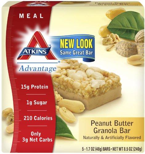 Atkins Advantage Peanut (Advantage Bar,P Btr Granl By Atkins - 5 Pk, Pack of 8)