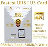 16GB Micro SDHC U3 Card Plus SD Adapter Pack. Amplim Extreme Pro Class 10 UHS-I MicroSDHC 95MB/s Read, 50MB/s Write. Ultra High Speed HD UHD 4K Video. Internal/External MicroSD Flash Memory Storage