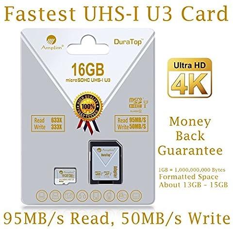 16GB Micro SDHC U3 Card Plus SD Adapter Pack. Amplim Extreme Pro Class 10 UHS-I MicroSDHC 95MB/s Read, 50MB/s Write. Ultra High Speed HD UHD 4K Video. Internal/External MicroSD Flash Memory (Ultra Micro Sdhc)
