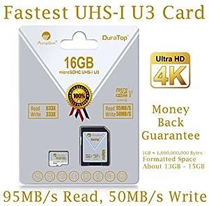 16GB Micro SDHC U3 Card Plus SD Adapter Pack. Amplim...