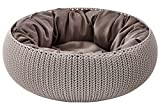 Keter by Curver Knit Cozy Resin Plastic Pet Bed, Cat Bed & Dog Bed with Cushion, Small Dogs to Medium Cats, Sandy Beige Larger Image