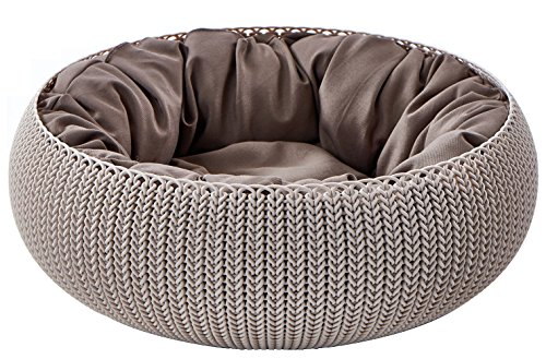 Keter by Curver KNIT Cozy Resin Plastic Pet Bed, Cat Bed & Dog Bed with Cushion, Small Dogs to Medium Cats, Sandy Beige
