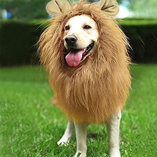QLINLEAF Christmas Dog Lion Mane Wig Costume for Medium to Large Sized Dogs Adjustable Fancy Funny Mane Brown Ear