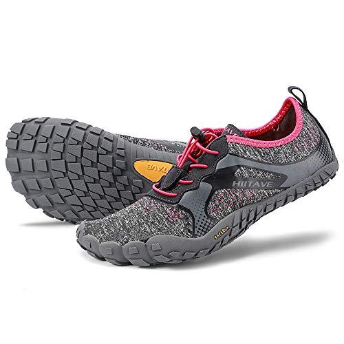 (ALEADER hiitave Womens Barefoot Cross Training Shoes Wide Toe Minimalist Trail Runners Dark Gray/Fushia US 6.5/7 Women)