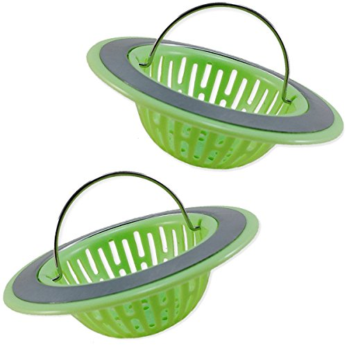 2 Set of Kitchen Sink Strainers with Handle, Durable Plastic Waste Filter, Fit most kitchen sinks, Resists rust, Lovely Design (Green)