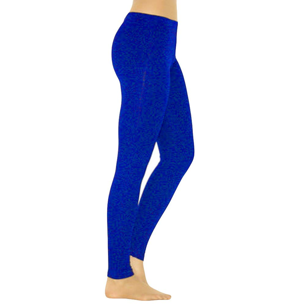 Pervobs Women Solid Soft Elastic Waist Skinny Slim Opaque Yoga Waisted Pants(S, Blue)