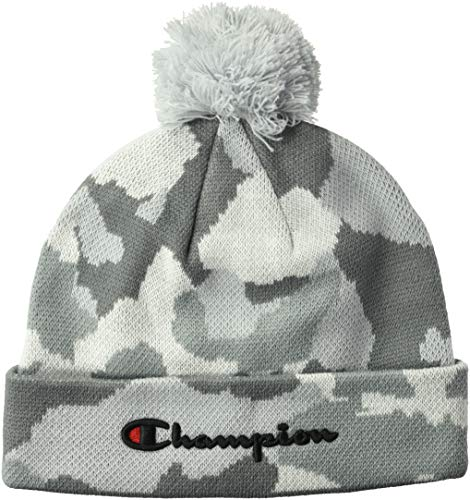 Champions Knit Hat - Champion LIFE Men's Script Knit POM, camo pop White, OS
