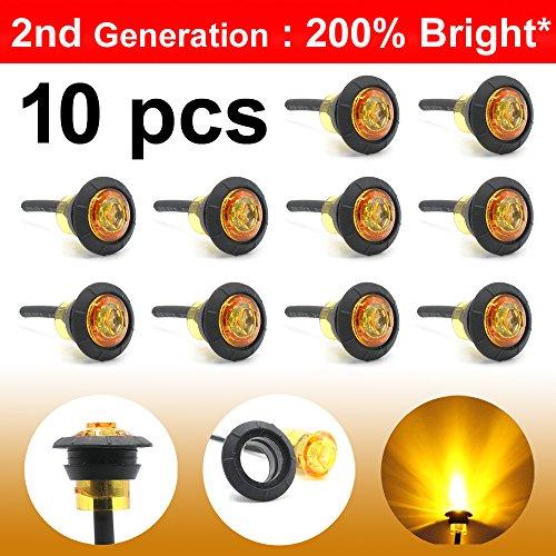 10 Pcs LedVillage 2nd Generation 3/4 Inch Mount Amber LED Clearance Bullet Marker lights, Side Led Marker for Truck Boat SUV ATV Bike Trailer Marine