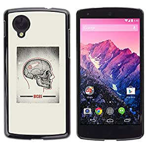 Paccase / SLIM PC / Aliminium Casa Carcasa Funda Case Cover - Skull Grey Anatomy Brain Medical - LG Google Nexus 5 D820 D821