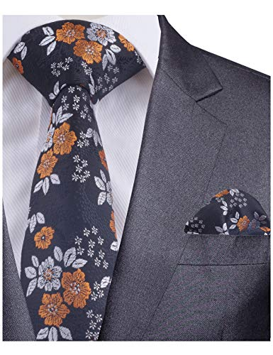 - GUSLESON Quality Floral Necktie and Pocket Square Set (0718-24)