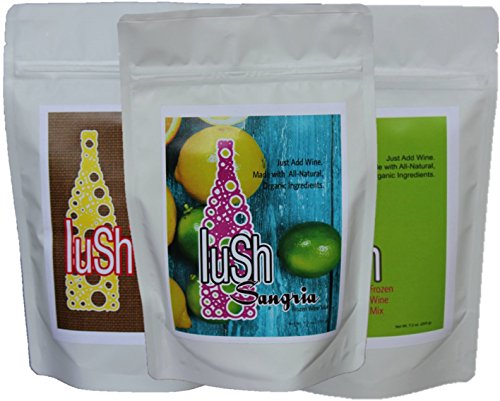 Lush Wine Mix Original Wine Slushie & Sangria- Organic Mix for Wine Slushies, Simple Syrup Cocktails, & Frozen Drinks (Spring & Summer 3-Pack with Original, Sangria, & Strawberry Basil Lemonade)