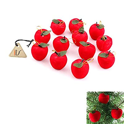 12 pcs Christmas Red Apples Christmas Tree Hanging Ornaments XMAS Party Decor