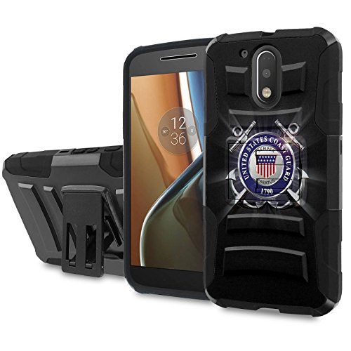 Moto [G4] [G4 Plus] Armor Case [SlickCandy] [Black/Black] Heavy Duty Defender [Holster] - [United States Coast Guard] for Motorala G [4th Gen] [G4 XT1625] [G4 Plus XT1644] -  SlickCandy for Moto [G4] [G4 Plus], P-MOTOG4-1E6-BKBK-CBT-P016C